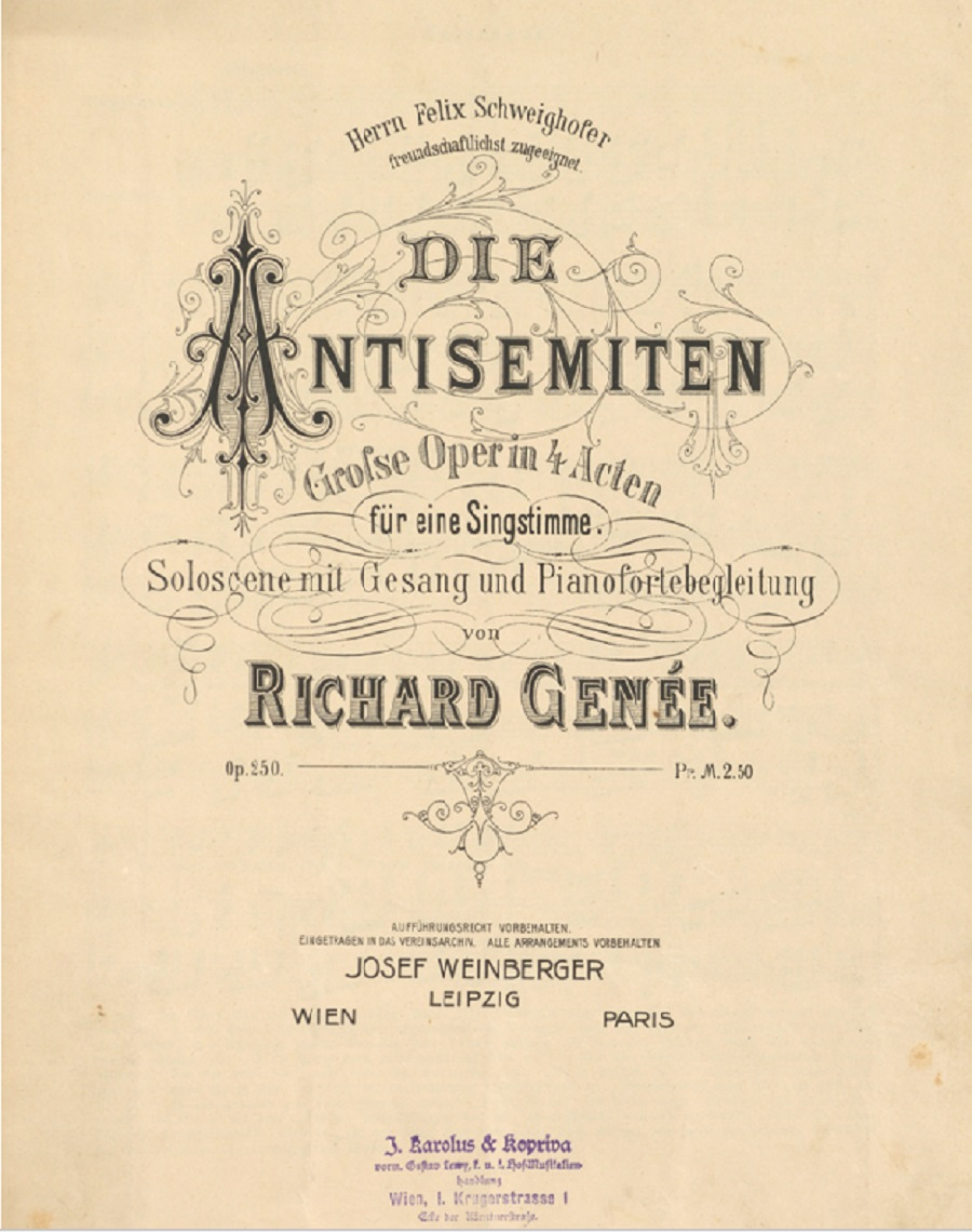 """Front cover of the vocal score of """"Die Antisemiten."""" (Photo: Dario Salvi Collection)"""
