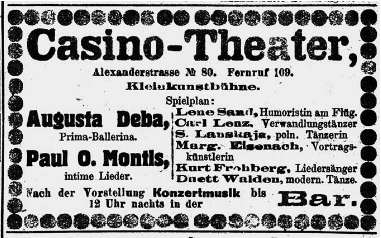 """An annoucement of Paul O'Montis appearing at the Casino-Theater with """"intimate songs."""" (Photo from Ralf Jörg Raber's biography, Metropol Vgl.)"""