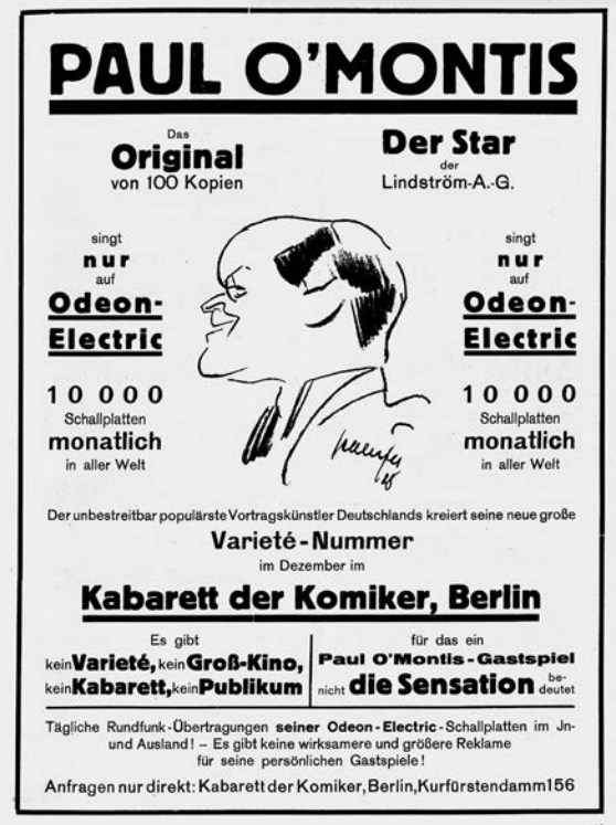 Paul O'Montis made many recordings for Odeon Elecrtics, and he appeared regularly in the most famous cabaret venues in Europe.  (Photo from Ralf Jörg Raber's biography, Metropol Vgl.)