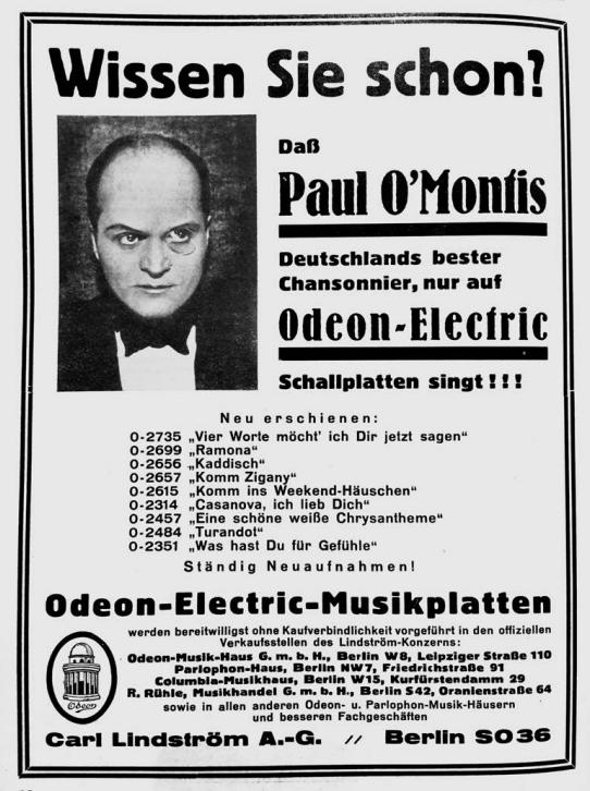"Paul O'Montis recorded a wide repertoire, including Emmerich Kálmán's ""Gräfin Mariza.""  (Photo from Ralf Jörg Raber's biography, Metropol Vgl.)"