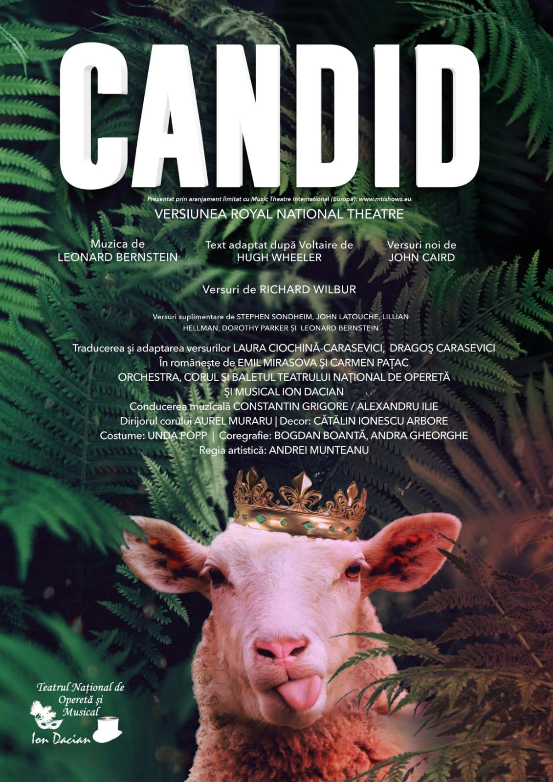 """Poster for the """"Candide"""" production at the Enescu Festival in Bucharest, 2021."""