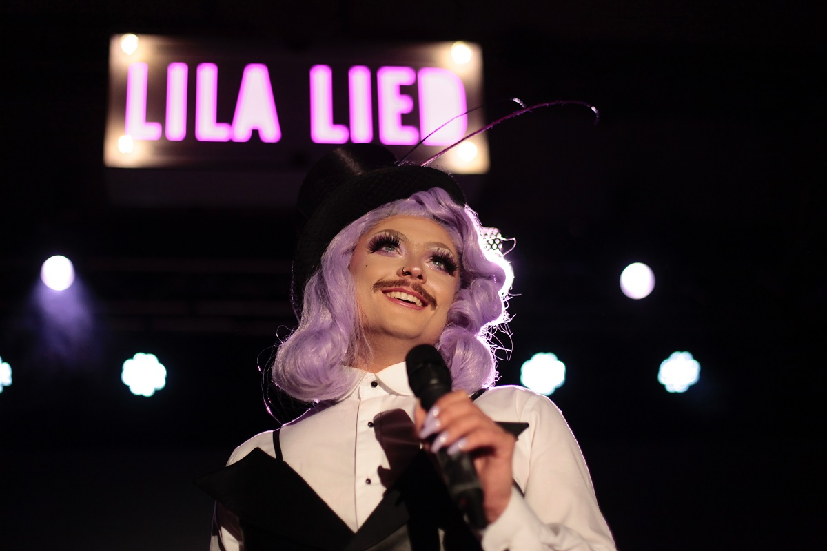 "Ludwig Obst as tenor star in ""Lila Lied"" at SchwuZ. (Photo: Callum Leo Hughes)"