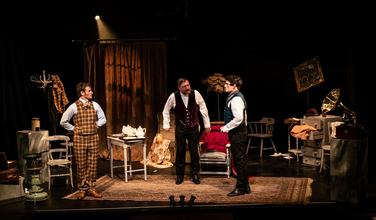 "Tim Walton, Carl Sanderson and Paul Featherstone in ""Cox & Box,"" 2021. (Photo:  Jacob Savage)"