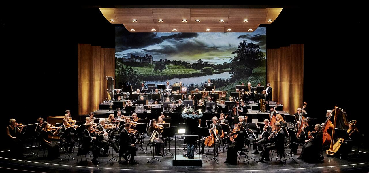 "Das Orchester der Staatsoperette Dresden unter Dirigent Johannes Pell mit dem ""Greensleeves""-Hintergrund. ((Foto: Stephan Floss)"