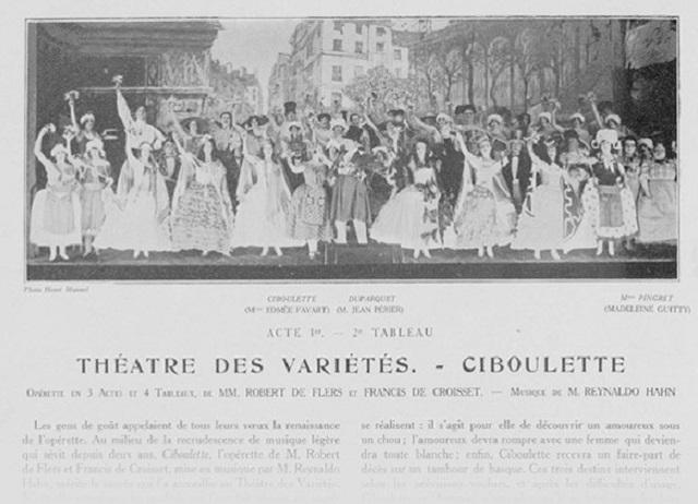 """A scene from the original 1923 production of """"Ciboulette"""" at the Théâtre des Variétés"""